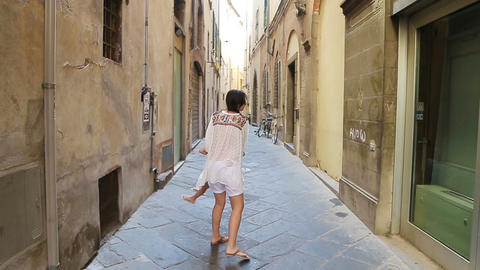 Family in Europe. Happy mother and little adorable girl having fun in Rome Footage