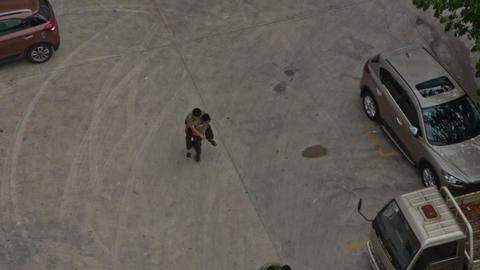 Fire Brigade Training Men Rescue Victim Bring to Parking Footage