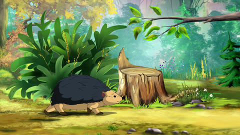 European Hedgehog Goes to the Forest UHD Animation