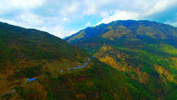 Aerial view Himalayas Nepal mountains 4k video. Valley houses on hillside Footage