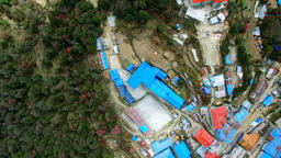 Aeria Himalayas Nepal mountains 4k video. Ghorepani village Footage