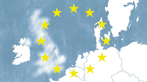 Brexit - United Kingdom exit from European Union, textured map, 12 stars Animation