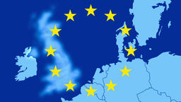 Brexit - map of the west of EU with the 12 symbolic stars - The UK is erased Animation