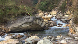 Mountain river Himalayas Nepal. Nature background hd video. Water rocks Footage