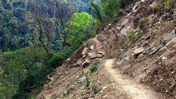 Mountain steep track road in Himalayas Nepal. Nature travel HD video Footage