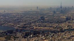 Flight over Dubai United Arab Emirates. Aerial city HD travel video Footage