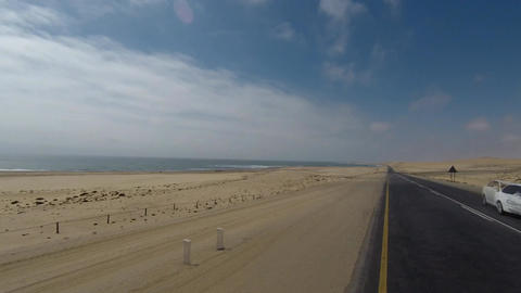 Driving on Luderitz to Walvis Bay coastal Road next to Namib Desert, Namibia Footage
