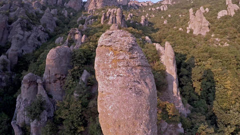Crimea Ghosts Valley Mountain. Flying around the tree Footage