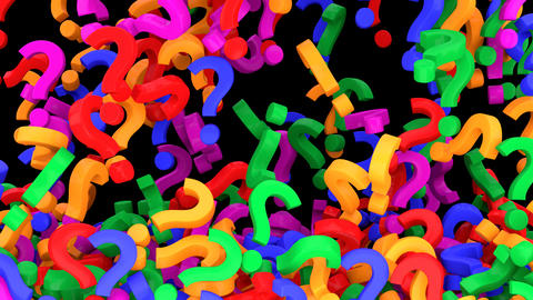 Falling colorful question marks. Alpha channel included Animation