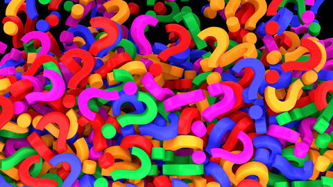 Falling colorful question marks. Alpha channel included Stock Video Footage