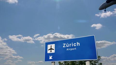 Airplane landing at Zurich Switzerland Live Action