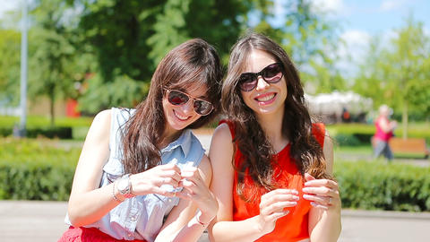 Beautiful young women portrait outdoor. Portrait of happy pretty girls smiling Live Action