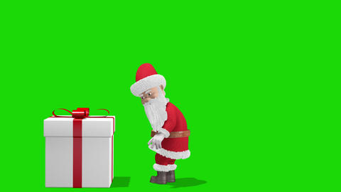 Santa Claus Pushing Gift. Merry Christmas and Happy New Year 2020 animation GIF