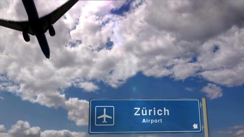 Airplane landing at Zurich Live Action