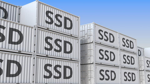 Cargo containers with SSDs. Loopable 3D animation Live Action