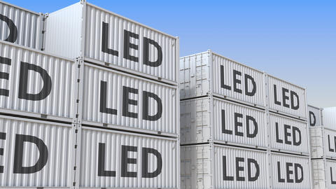 Cargo containers with LED lighting equipment. Loopable 3D animation Footage