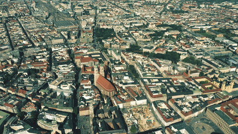 Aerial shot of Munich, the capital and most populous city of Bavaria, Germany Live Action