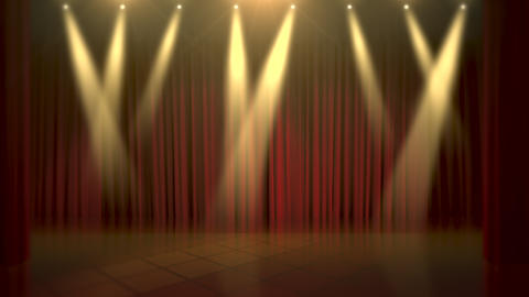 Motion gold lights and stage, abstract background Animation