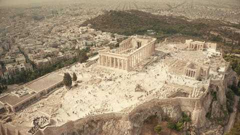 Aerial orbiting shot of the famous Parthenon temple and Acropolis. Athens Footage