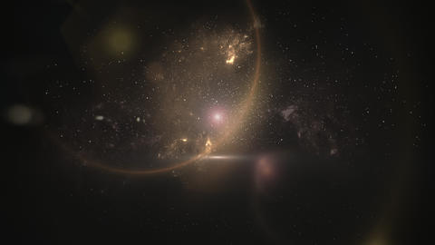Motion stars and planets in galaxy, abstract background Animation