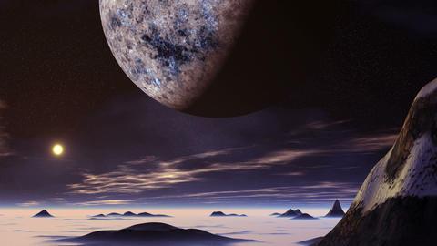 Huge Alien Planet and Sunrise Animation