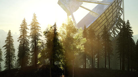 The observatory radio telescope in forest at sunset Footage