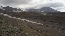 Volcanic landscape: time lapse view of active volcano eruption Footage