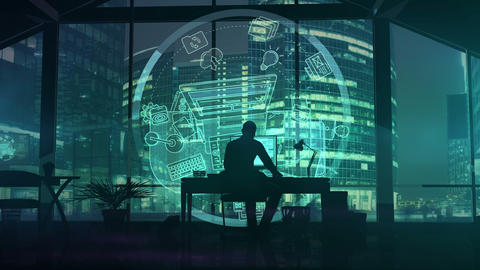 Silhouette of a web designer on the background of business center skyscrapers Animation