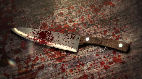 Mystical horror background with dark bloody and knife on wood Animation