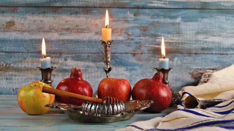 Honey, apple and pomegranate traditional holiday symbols rosh hashanah jewish Live Action