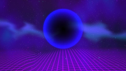 Motion retro blue sphere and grid, abstract background Videos animados