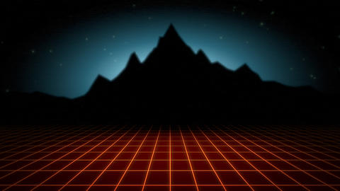 Motion retro abstract background, red grid and mountain Videos animados