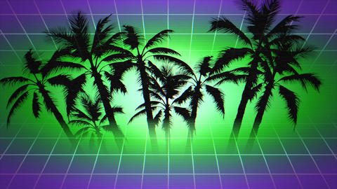 Motion retro summer abstract background, palm trees in frame Animation