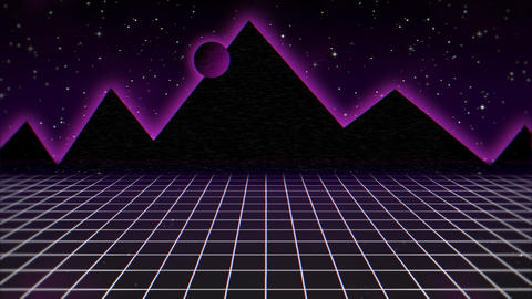 Motion retro abstract background, purple grid and mountain Videos animados