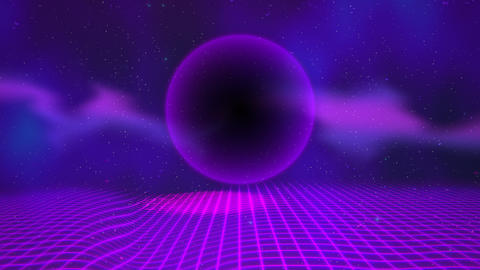 Motion retro purple sphere and grid, abstract background with noise and Videos animados