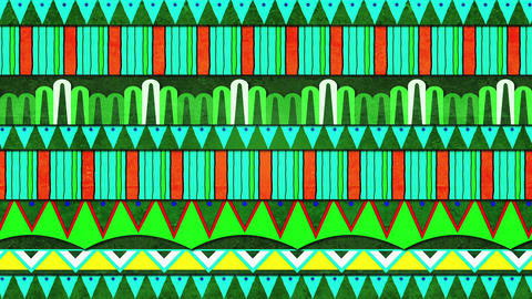 Happy Green Colorful Patterns Moving Horizontally With A Paper Like Texture Looping Background CG動画