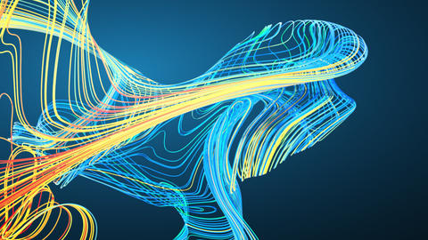 Flowing lines Colorful Curved Lines Flowing On Graduated Blue Background Animation
