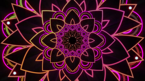 Orange And Pink Colored Mandalas Rotating Seamlessly Looping Visual CG動画