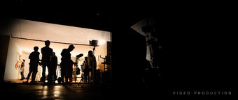 Behind the shooting video production and lighting set for filming which movie crew team working and フォト