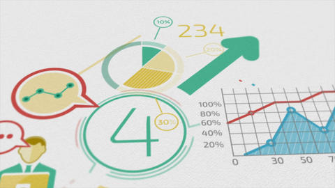 Business Background With Elements Of Infographics. 4k ภาพเคลื่อนไหว