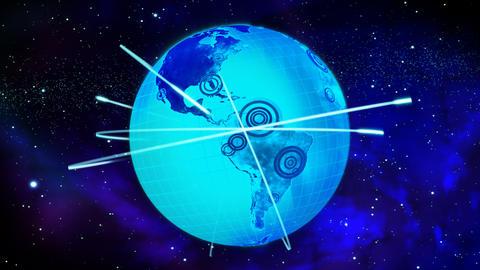 Earth model animation. Communication metaphor Animation