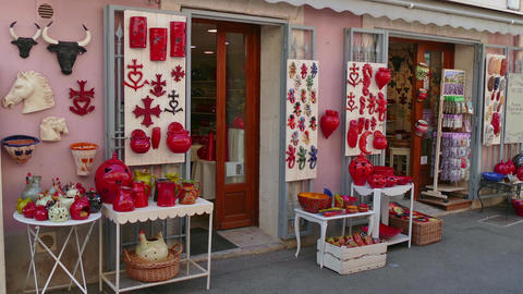 Pottery Gifts And Souvenirs In Tourist Shop In France Footage