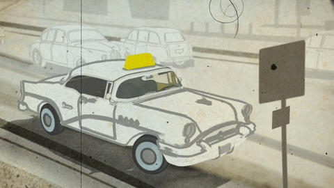 Retro date in taxi cab Animation