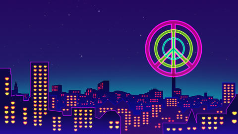 Peace released to air. Night scenery Animation