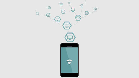 Wifi connection by mobile phone video animation Animation