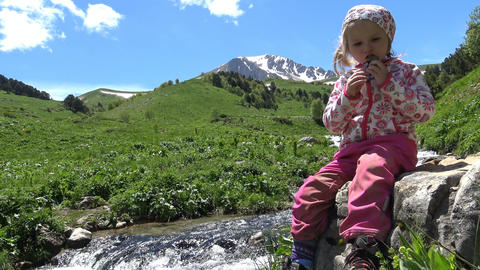 Hiking near the mountain Oshten. A young tourist Taisiya. The Caucasian mountain Footage