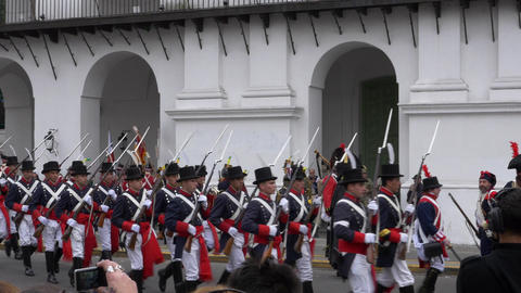 Argentinian Colonial Army marching in the reenactment and commemoration of the 2 Footage