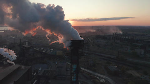 Aerial view. High chimney pipe with grey smoke. concept of environmental Footage