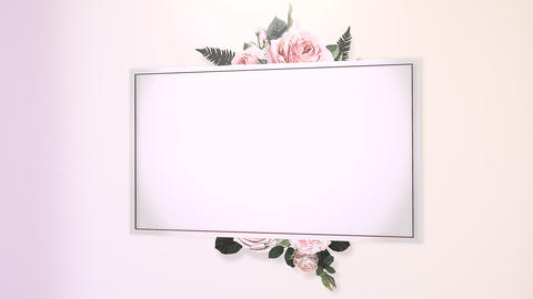 Closeup vintage frame with flowers motion, wedding background Animation