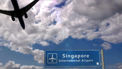 Airplane landing at Singapore Live Action